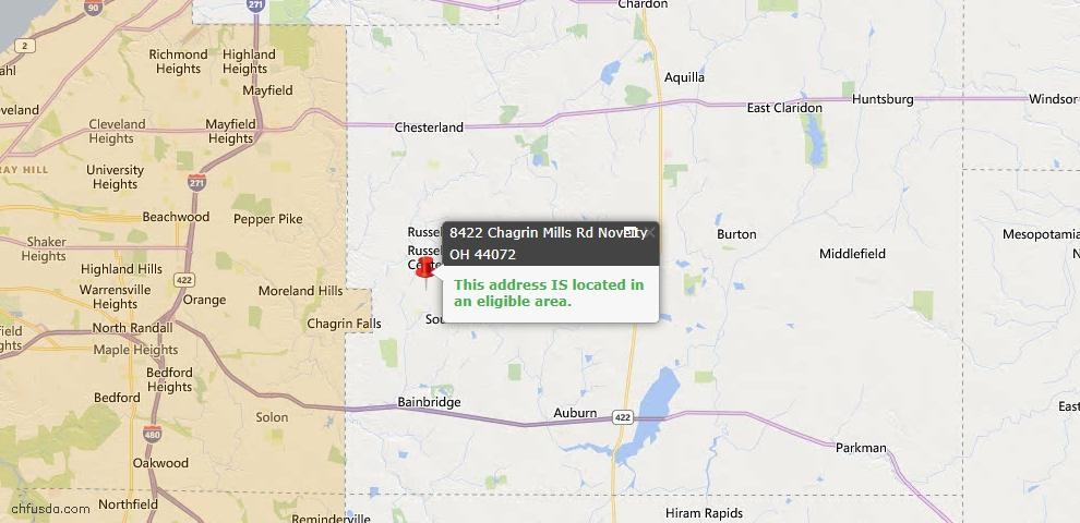 USDA Loan Eligiblity Map - 8422 Chagrin Mills Rd, Novelty, OH 44072