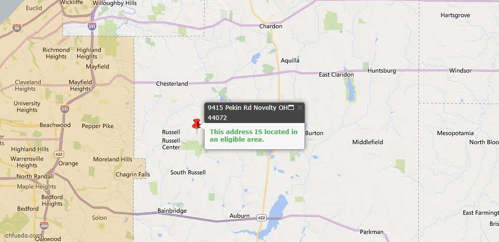 USDA Loan Eligiblity Map - 9415 Pekin Rd, Novelty, OH 44072