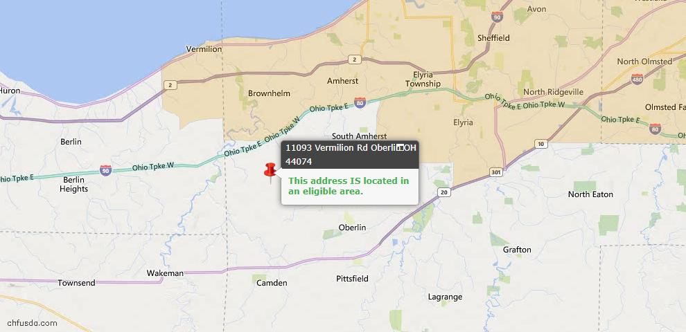 USDA Loan Eligiblity Map - 11093 Vermilion Rd, Oberlin, OH 44074