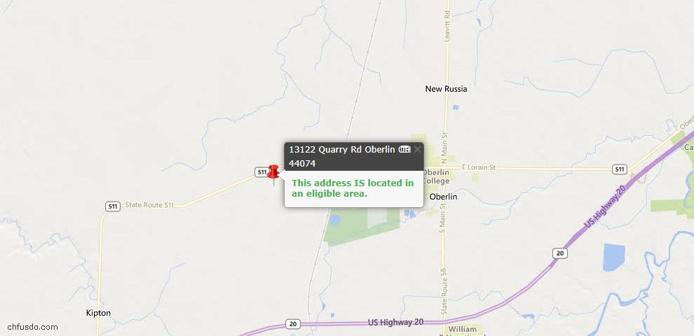 USDA Loan Eligiblity Maps From - Oberlin, OH