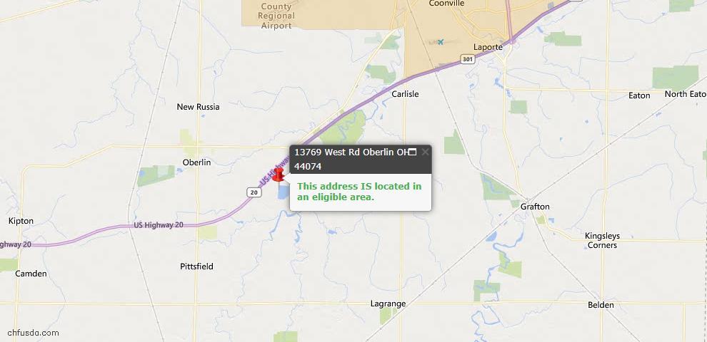 USDA Loan Eligiblity Map - 13769 West Rd, Oberlin, OH 44074