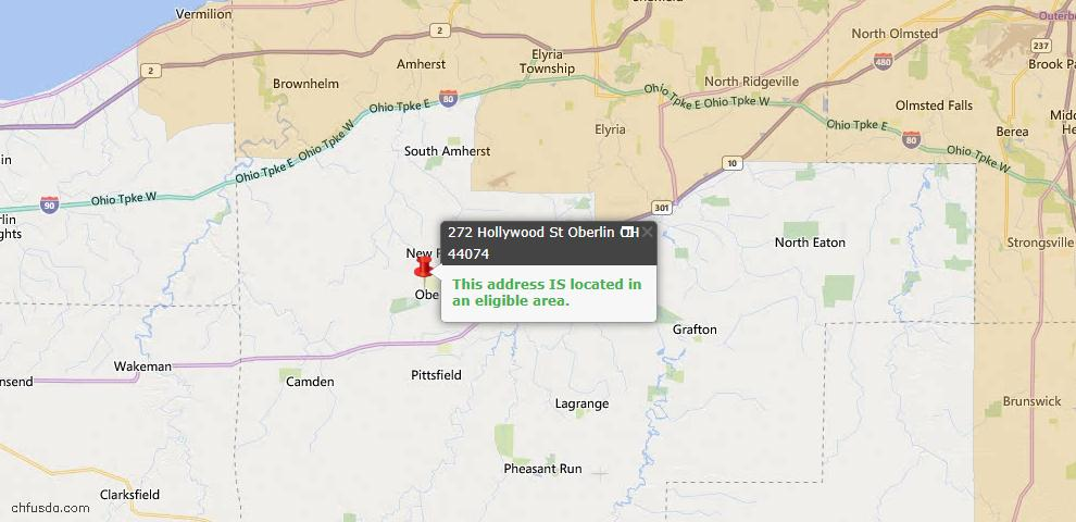 USDA Loan Eligiblity Map - 272 Hollywood St, Oberlin, OH 44074