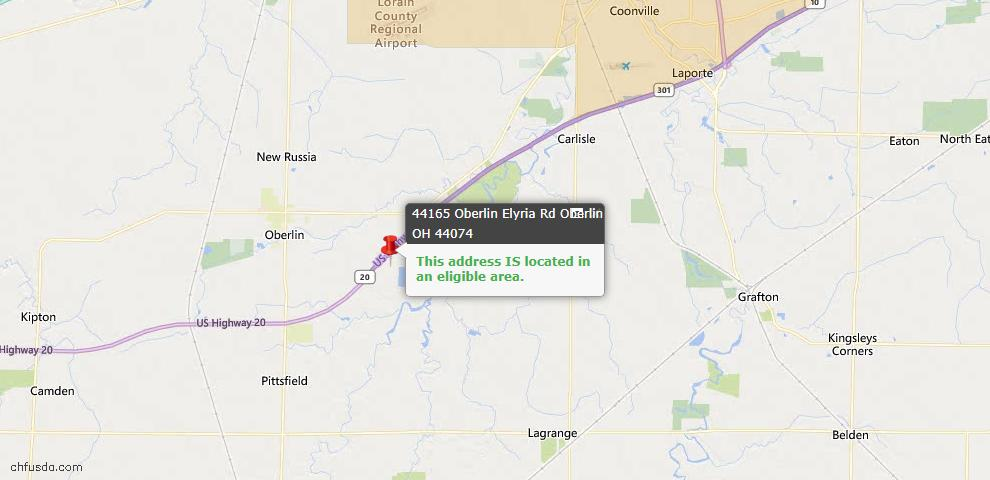 USDA Loan Eligiblity Map - 44165 Oberlin Elyria Rd, Oberlin, OH 44074