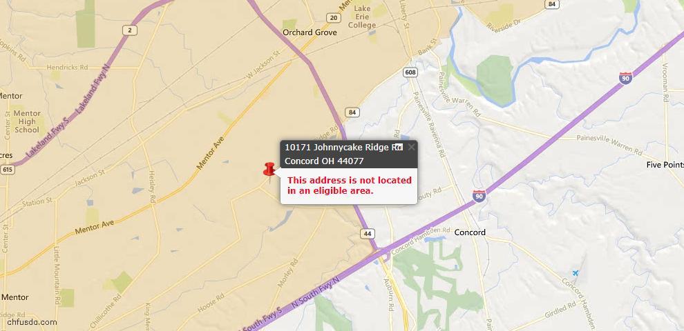 USDA Loan Eligiblity Map - 10171 Johnnycake Ridge Rd, Concord, OH 44077