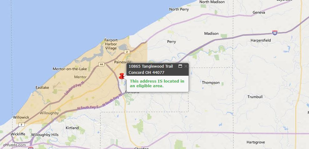 USDA Loan Eligiblity Map - 10865 Tanglewood Trl, Concord, OH 44077
