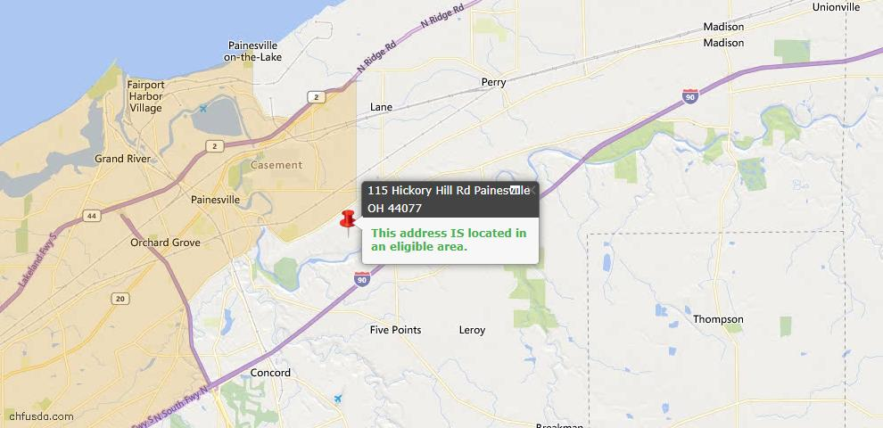 USDA Loan Eligiblity Map - 115 Hickory Hill Rd, Painesville Township, OH 44077