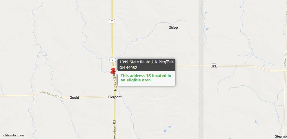 USDA Loan Eligiblity Maps From - Pierpont, OH