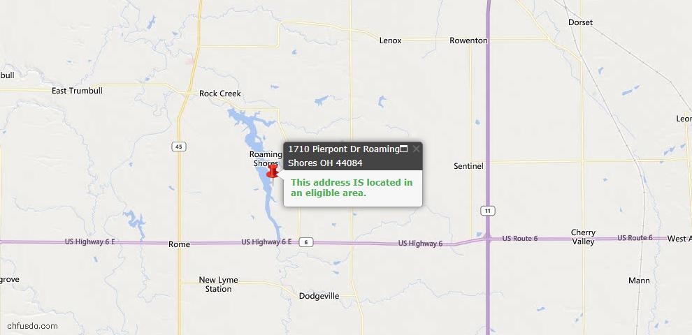 USDA Loan Eligiblity Map - 1710 Pierpont Dr, Roaming Shores, OH 44084