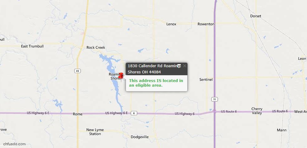 USDA Loan Eligiblity Map - 1830 Callender Rd, Roaming Shores, OH 44084