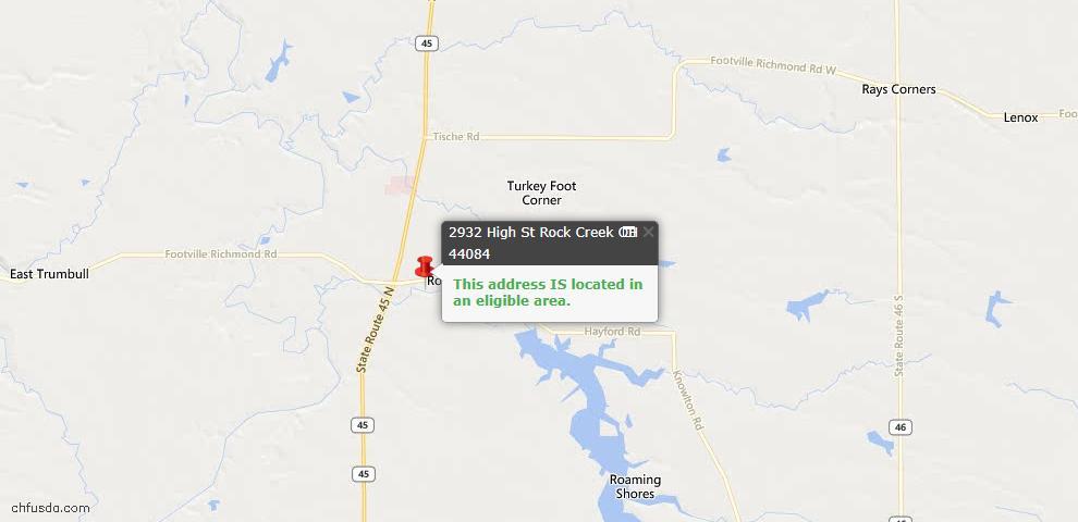 USDA Loan Eligiblity Maps From - Rock Creek, OH