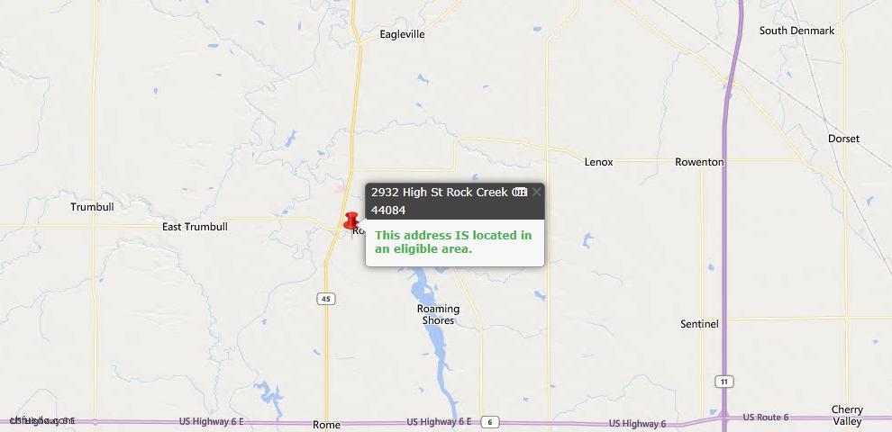 USDA Loan Eligiblity Map - 2932 High St, Rock Creek, OH 44084