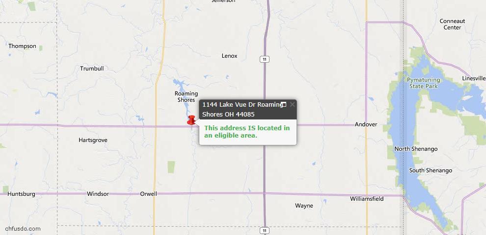 USDA Loan Eligiblity Map - 1144 Lake Vue Dr, Roaming Shores, OH 44085