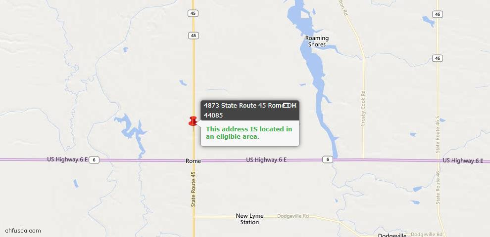 USDA Loan Eligiblity Map - 4873 State Route 45, Rome, OH 44085