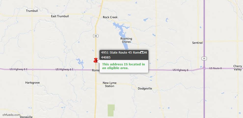 USDA Loan Eligiblity Map - 4951 State Route 45, Rome, OH 44085