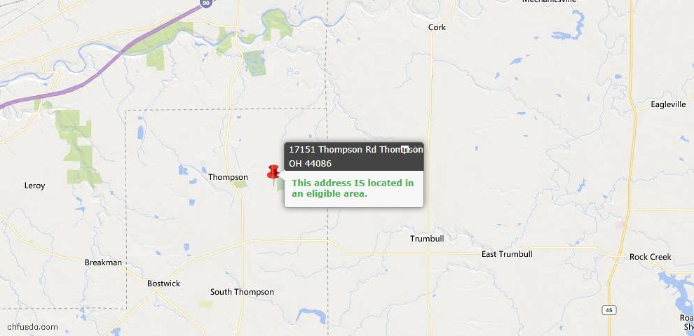 USDA Loan Eligiblity Map - 17151 Thompson Rd, Thompson, OH 44086