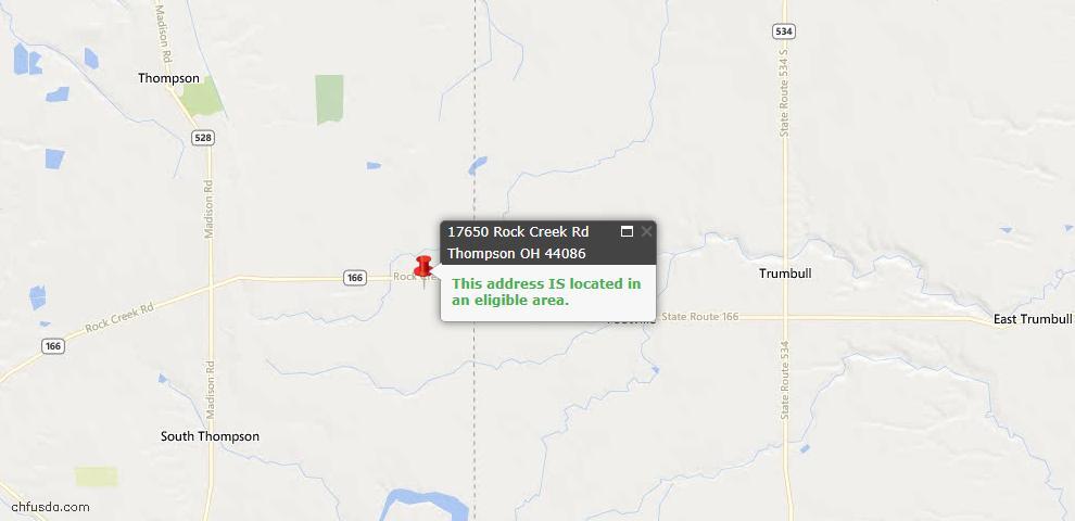 USDA Loan Eligiblity Map - 17650 Rock Creek Rd, Thompson, OH 44086