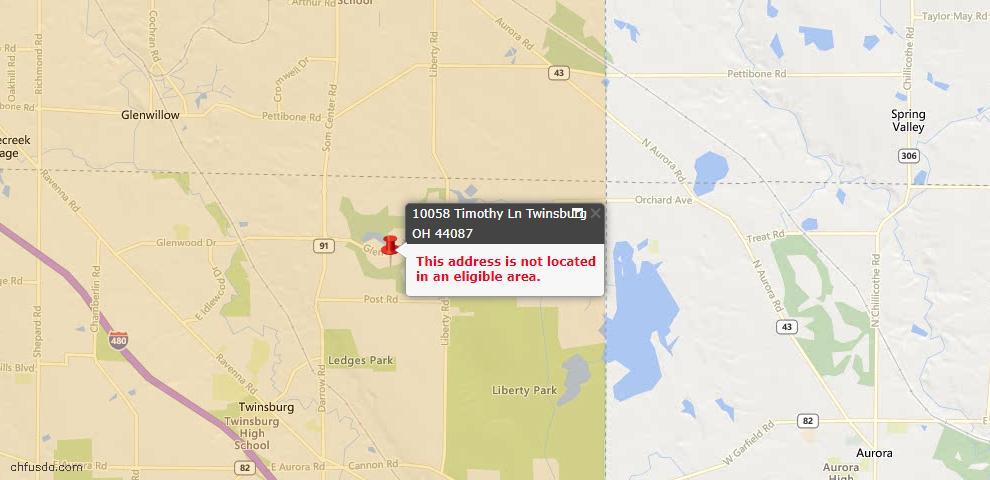 USDA Loan Eligiblity Map - 10058 Timothy Ln, Twinsburg, OH 44087