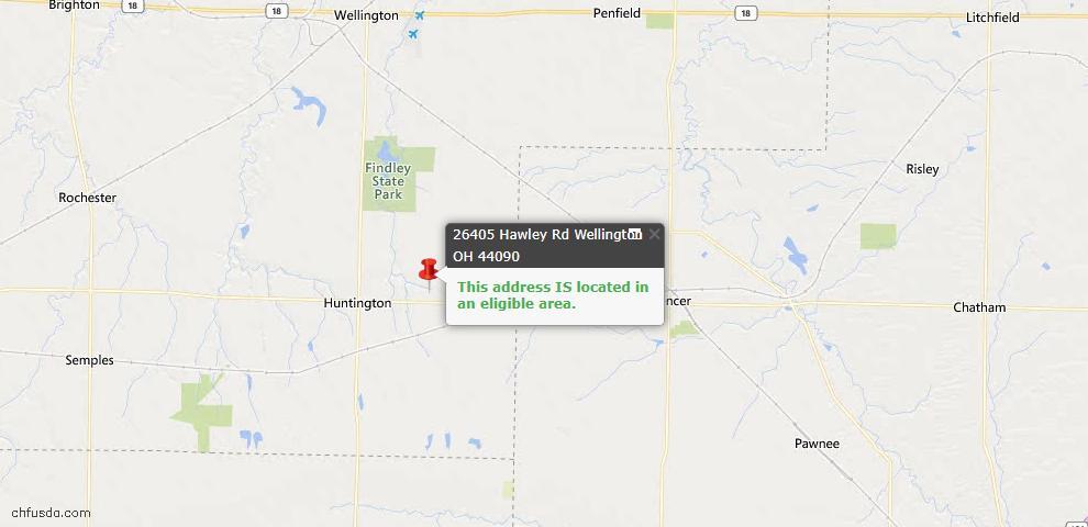 USDA Loan Eligiblity Map - 26405 Hawley Rd, Wellington, OH 44090