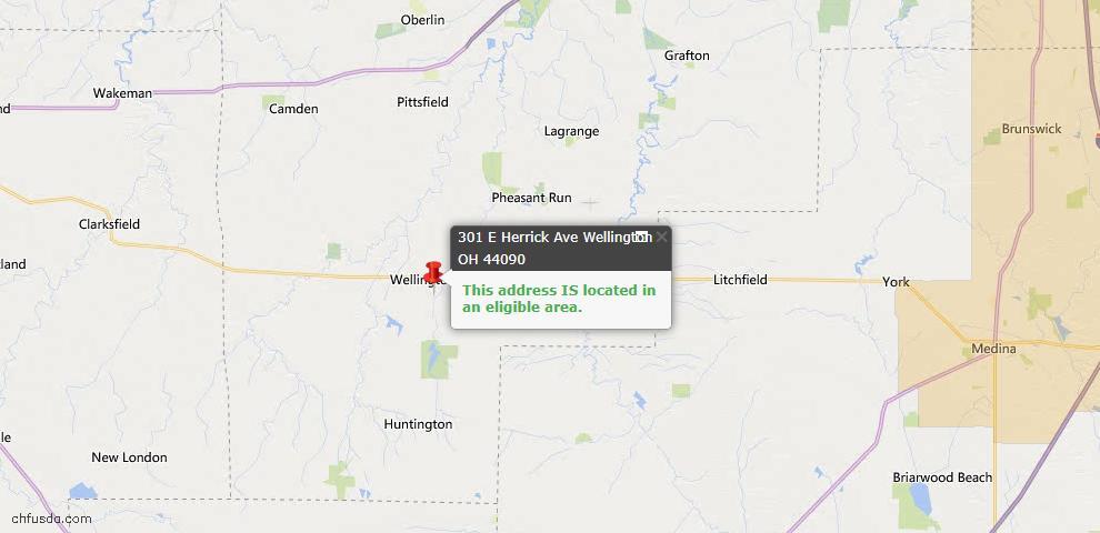 USDA Loan Eligiblity Map - 301 E Herrick Ave, Wellington, OH 44090