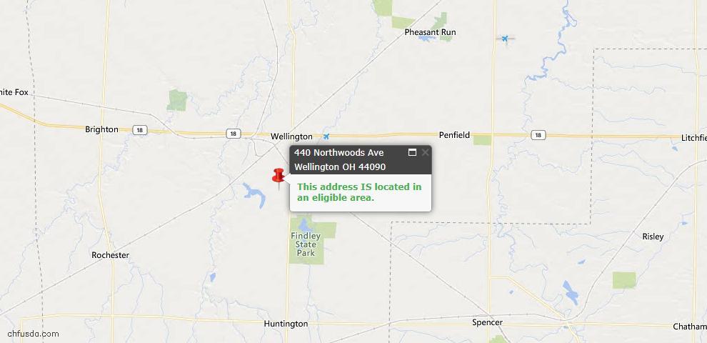 USDA Loan Eligiblity Map - 440 Northwoods Ave, Wellington, OH 44090