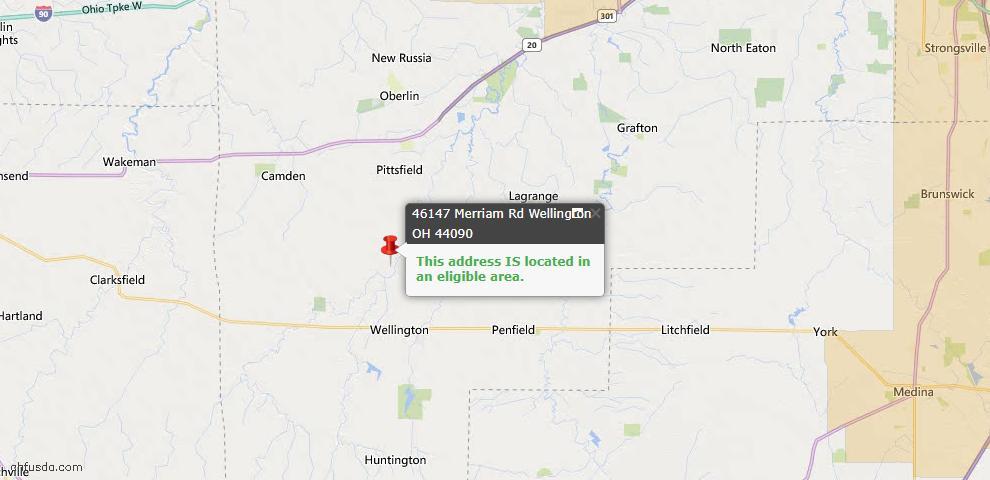 USDA Loan Eligiblity Map - 46147 Merriam Rd, Wellington, OH 44090