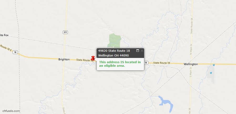 USDA Loan Eligiblity Maps From - Wellington, OH