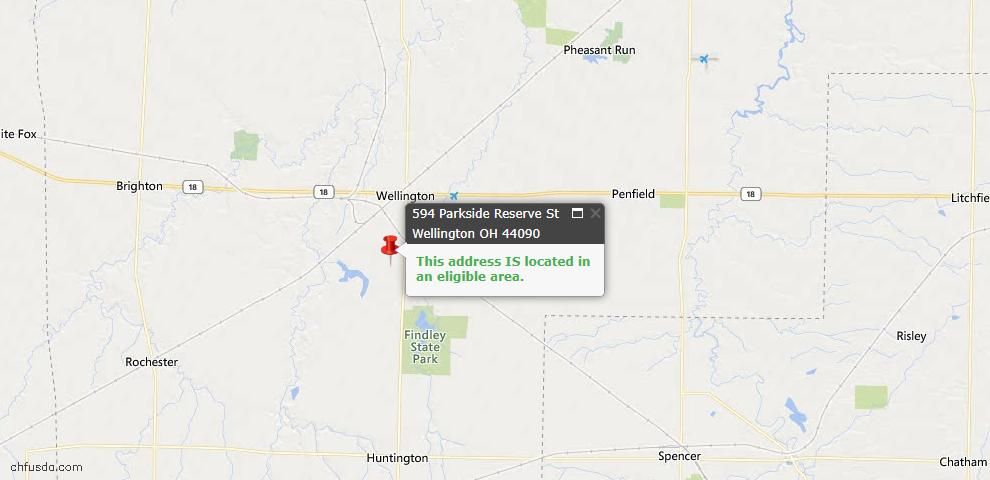 USDA Loan Eligiblity Map - 594 Parkside Reserve St, Wellington, OH 44090
