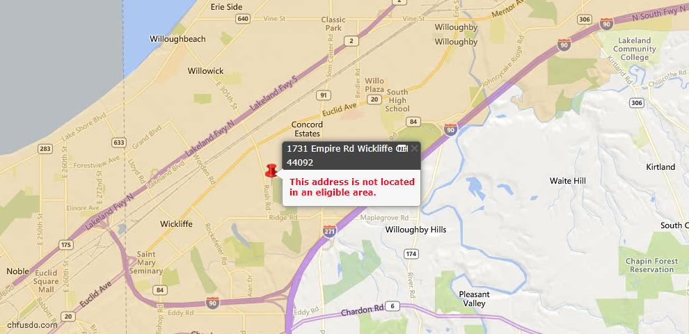 USDA Loan Eligiblity Maps From - Wickliffe, OH