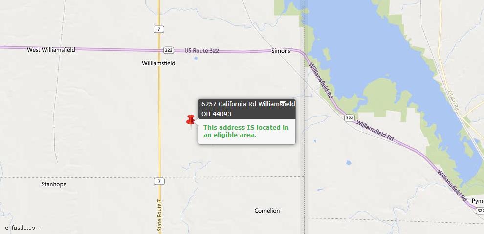 USDA Loan Eligiblity Maps From - Williamsfield, OH