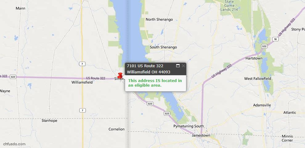 USDA Loan Eligiblity Map - 7101 Us Route 322, Williamsfield, OH 44093