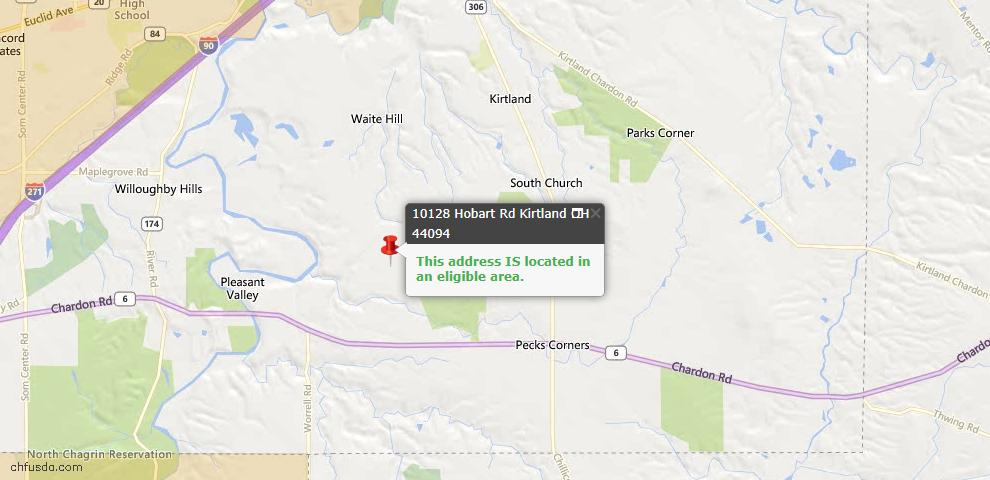 USDA Loan Eligiblity Map - 10128 Hobart Rd, Kirtland, OH 44094