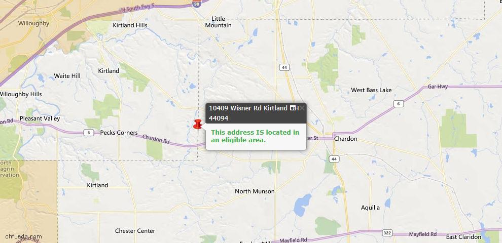 USDA Loan Eligiblity Map - 10409 Wisner Rd, Kirtland, OH 44094
