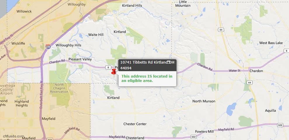 USDA Loan Eligiblity Map - 10741 Tibbetts Rd, Kirtland, OH 44094