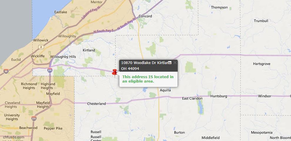 USDA Loan Eligiblity Map - 10870 Woodlake Dr, Kirtland, OH 44094