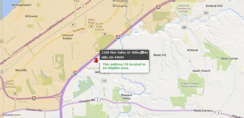USDA Loan Eligiblity Maps From - Willoughby Hills, OH