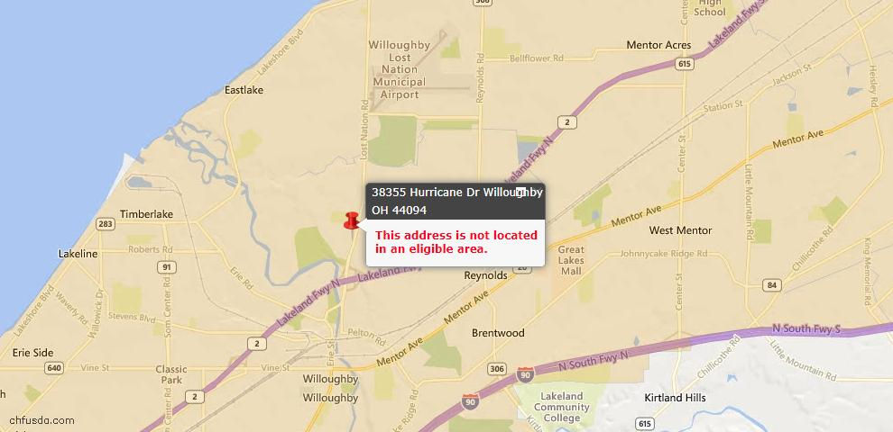 USDA Loan Eligiblity Maps From - Willoughby, OH
