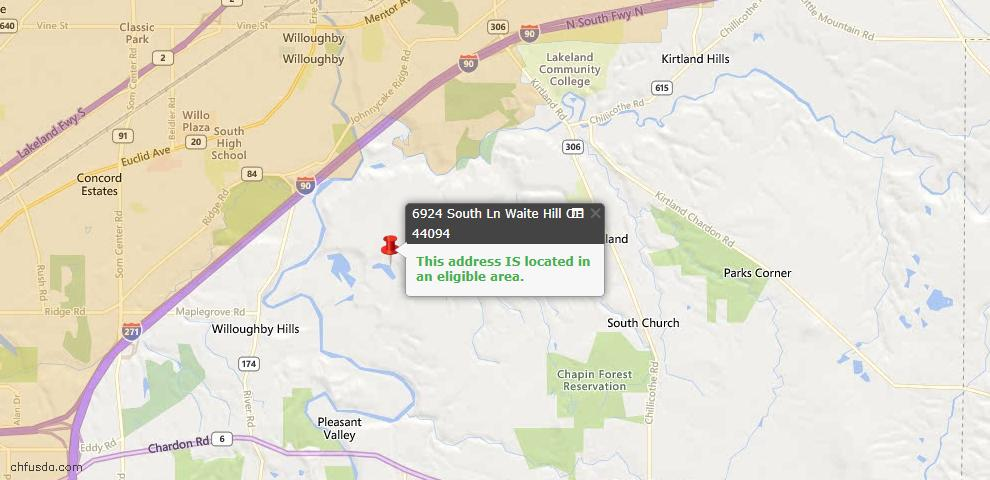 USDA Loan Eligiblity Maps From - Waite Hill, OH