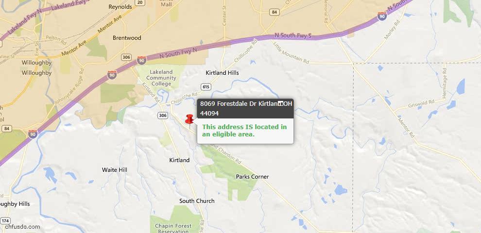 USDA Loan Eligiblity Maps From - Kirtland, OH