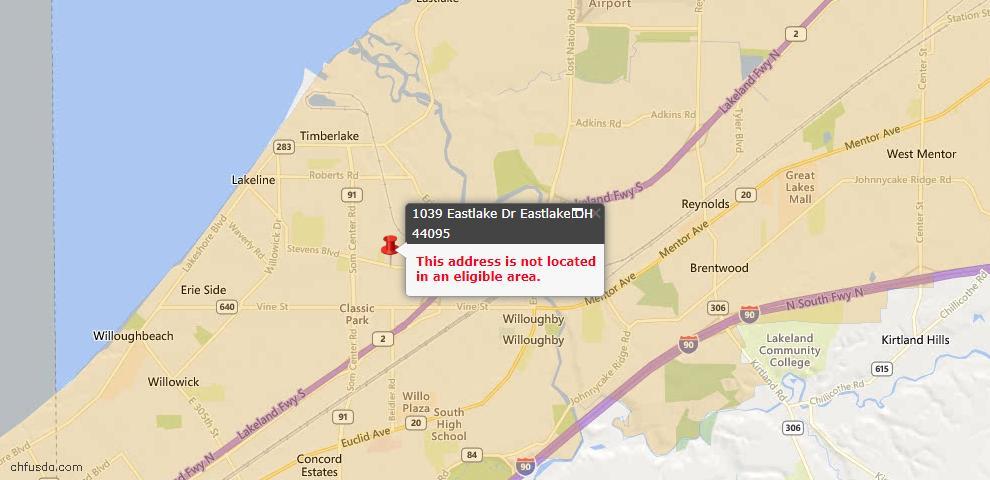 USDA Loan Eligiblity Map - 1039 Eastlake Dr, Eastlake, OH 44095