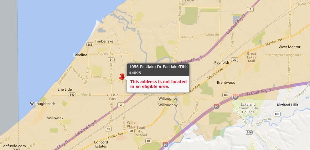 USDA Loan Eligiblity Map - 1056 Eastlake Dr, Eastlake, OH 44095