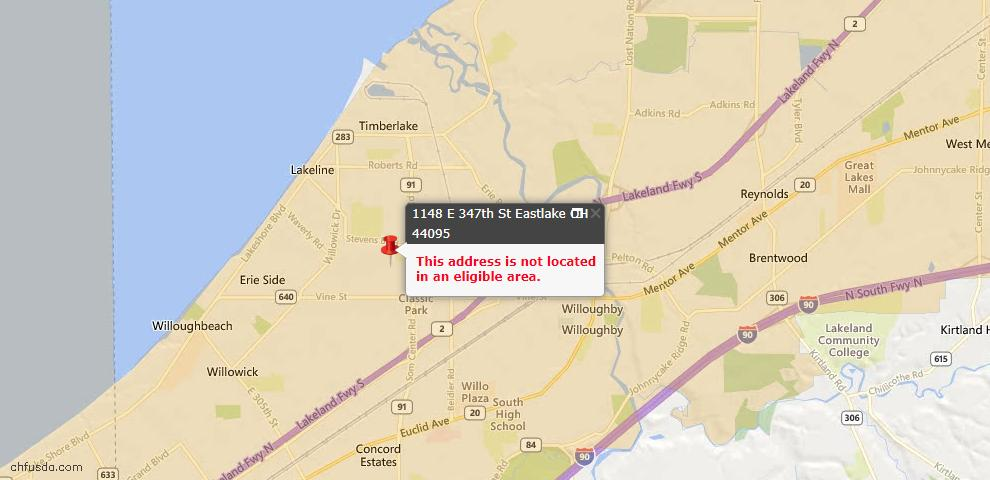 USDA Loan Eligiblity Map - 1148 E 347th St, Eastlake, OH 44095