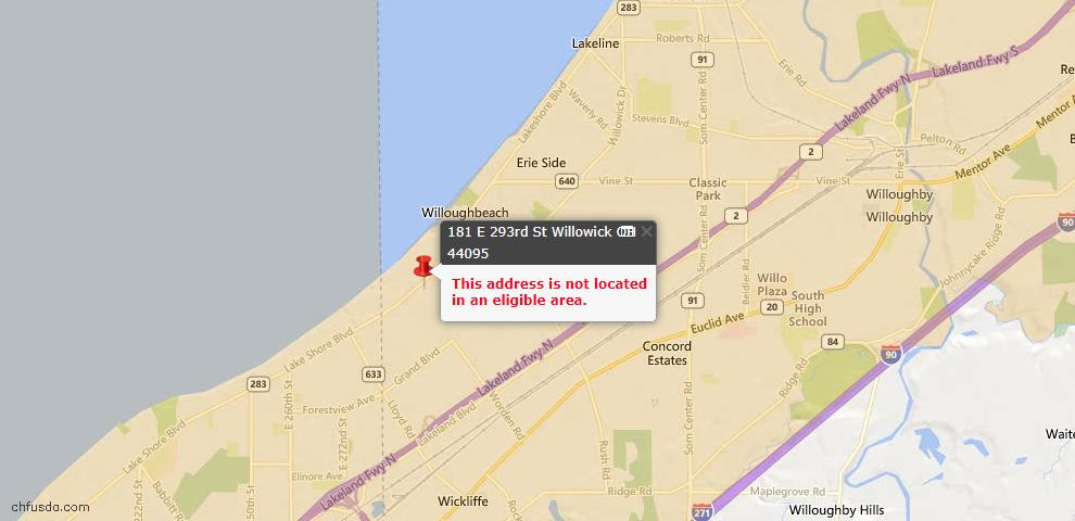 USDA Loan Eligiblity Maps From - Willowick, OH