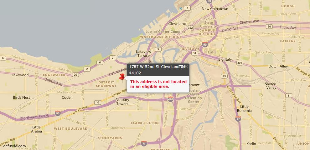 USDA Loan Eligiblity Maps From - 44102, OH