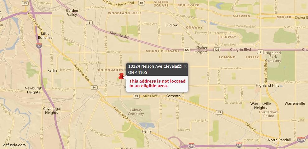 USDA Loan Eligiblity Map - 10224 Nelson Ave, Cleveland, OH 44105