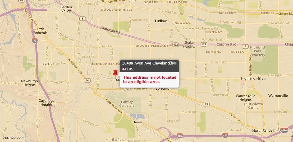USDA Loan Eligiblity Map - 10409 Avon Ave, Cleveland, OH 44105
