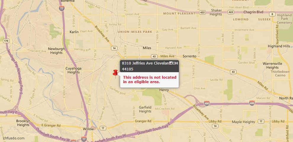USDA Loan Eligiblity Maps From - 44105, OH