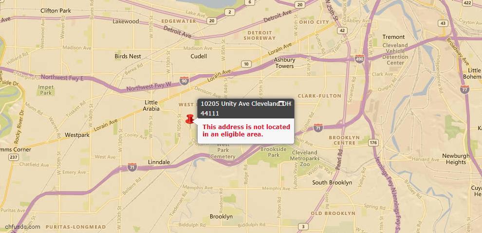 USDA Loan Eligiblity Map - 10205 Unity Ave, Cleveland, OH 44111