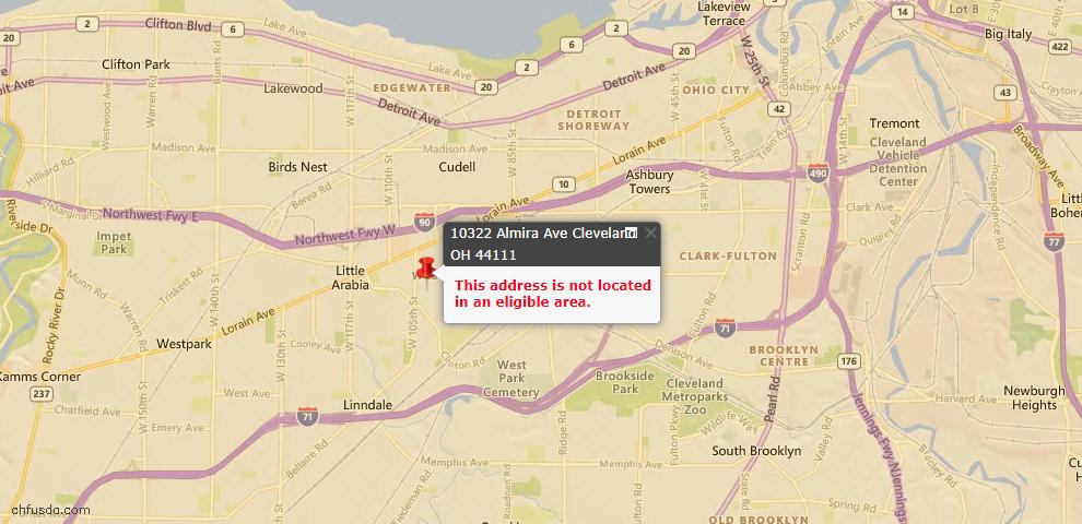 USDA Loan Eligiblity Map - 10322 Almira Ave, Cleveland, OH 44111