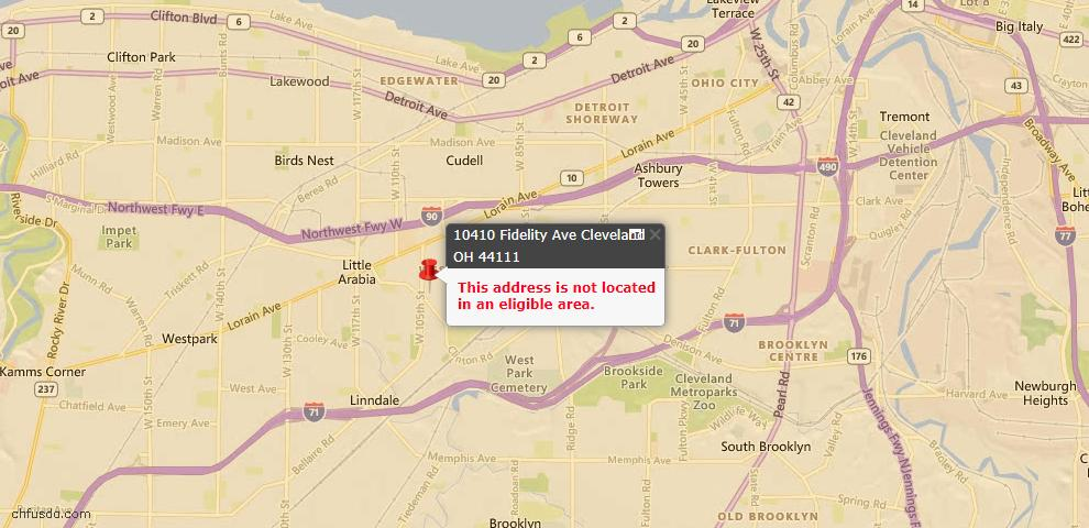 USDA Loan Eligiblity Map - 10410 Fidelity Ave, Cleveland, OH 44111