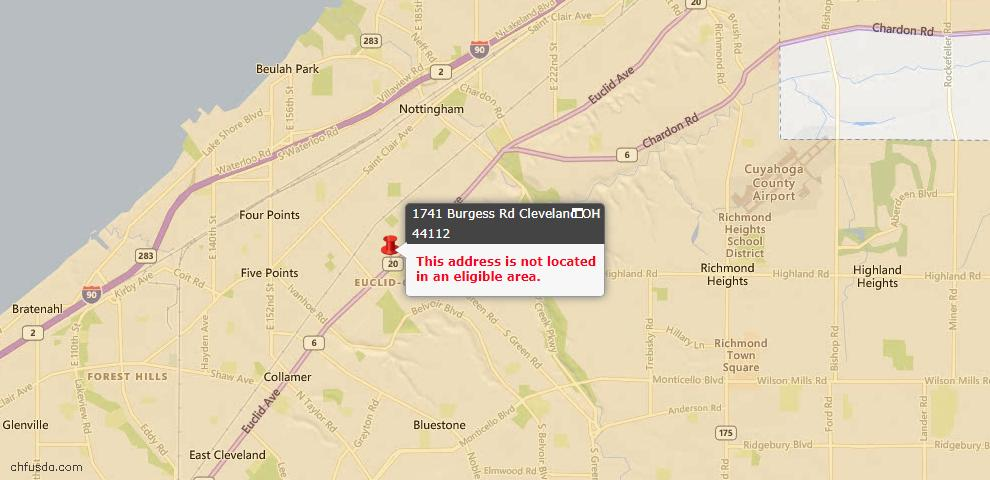 USDA Loan Eligiblity Maps From - 44112, OH